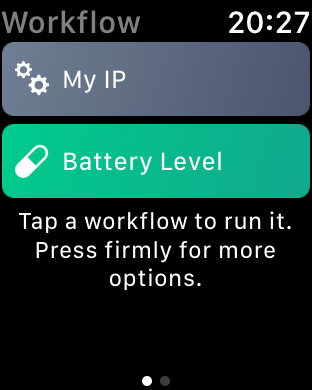 Workflow Apple Watch premere su Battery Level