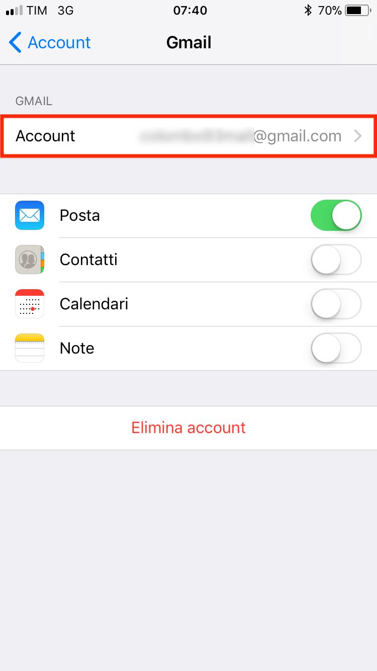 impostazioni dell'account Gmail