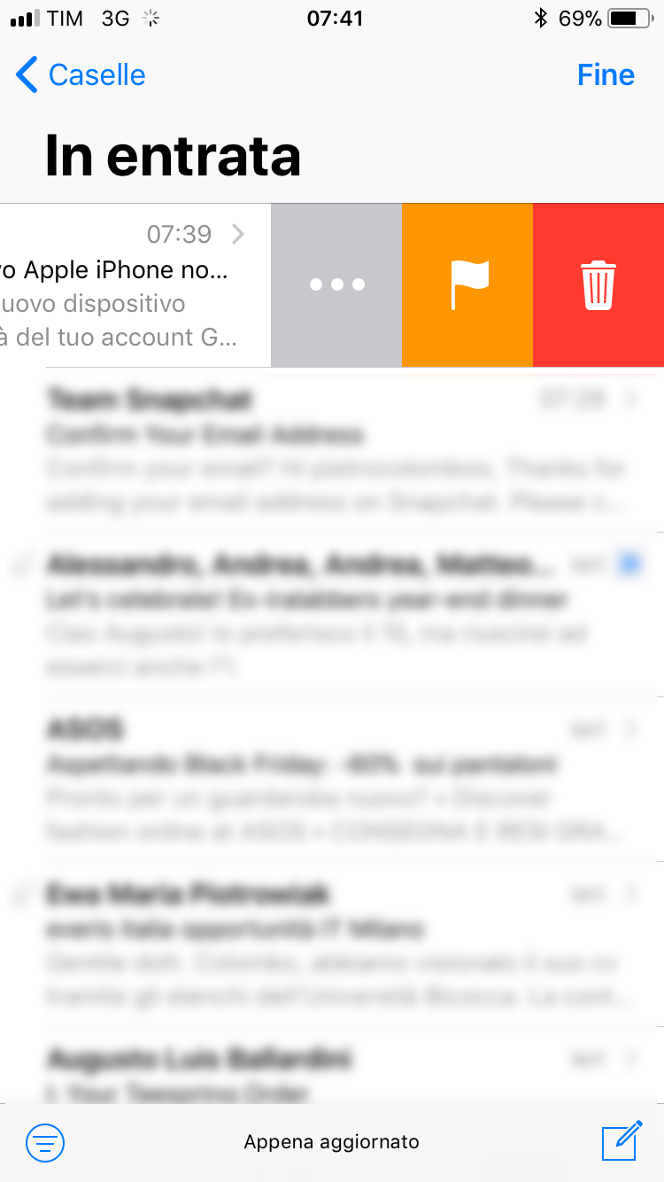Mail iPhone Gmail elimina le mail