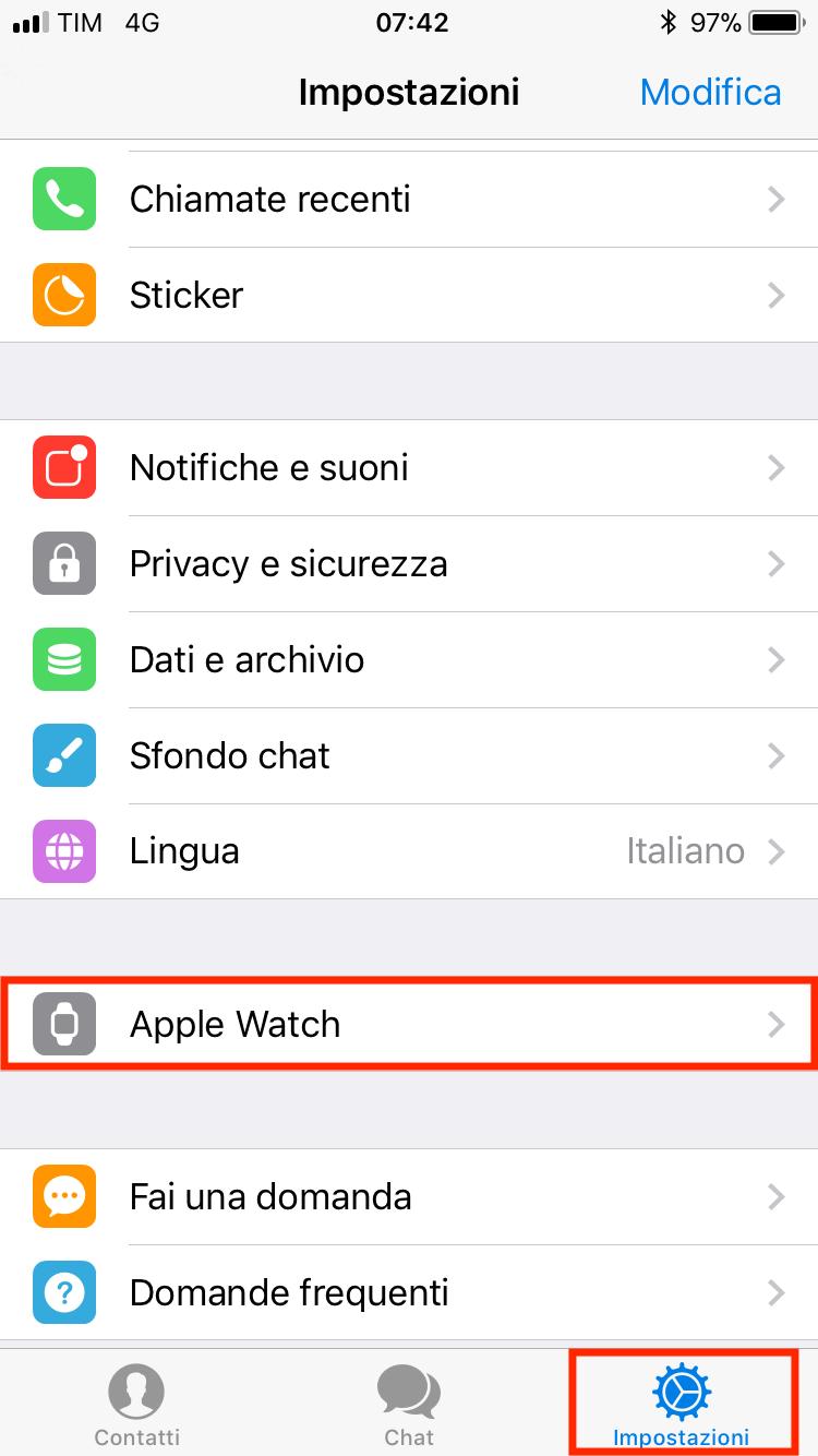 impostazioni app telegram