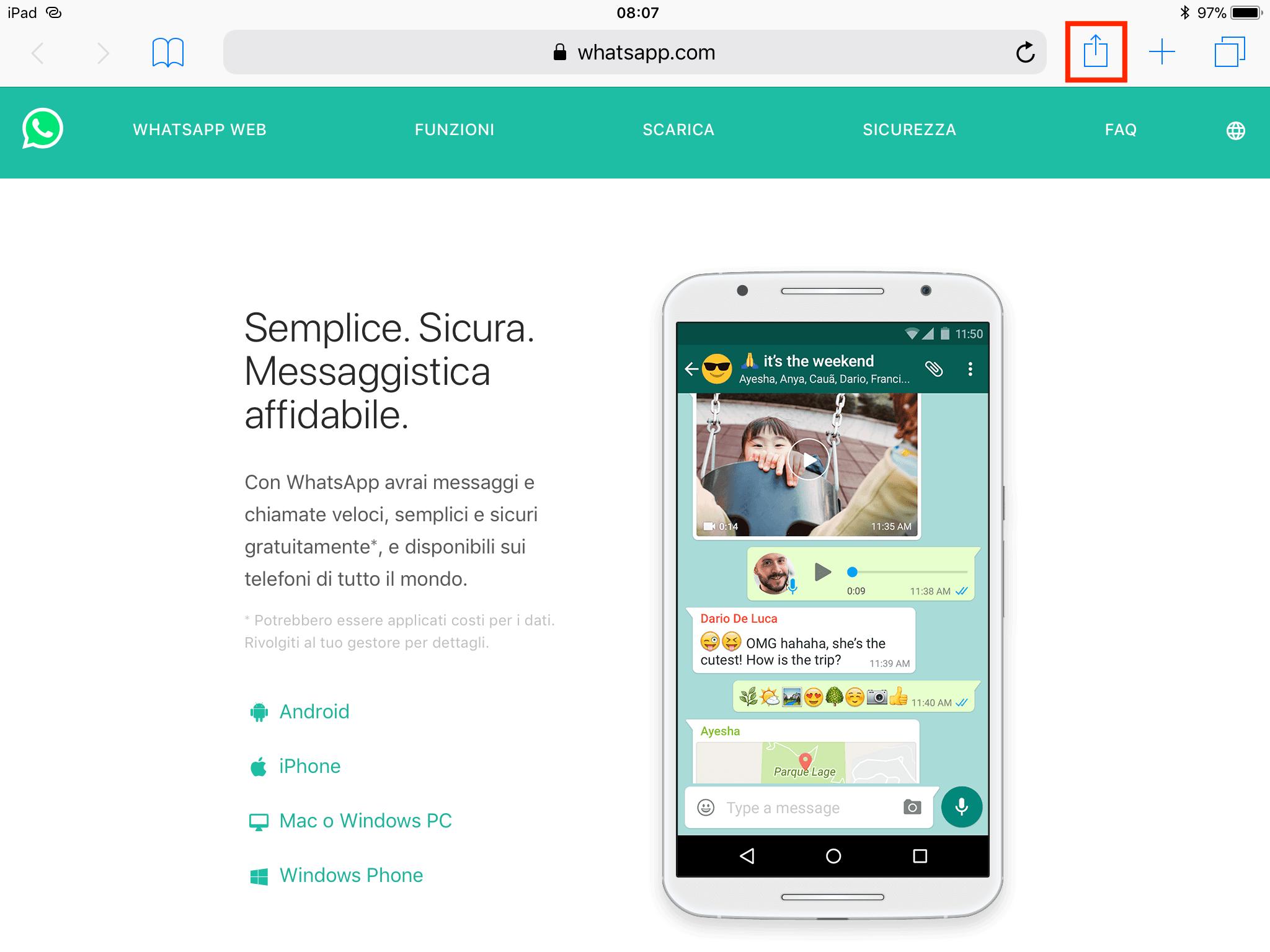 Home page di web.whatsapp.com