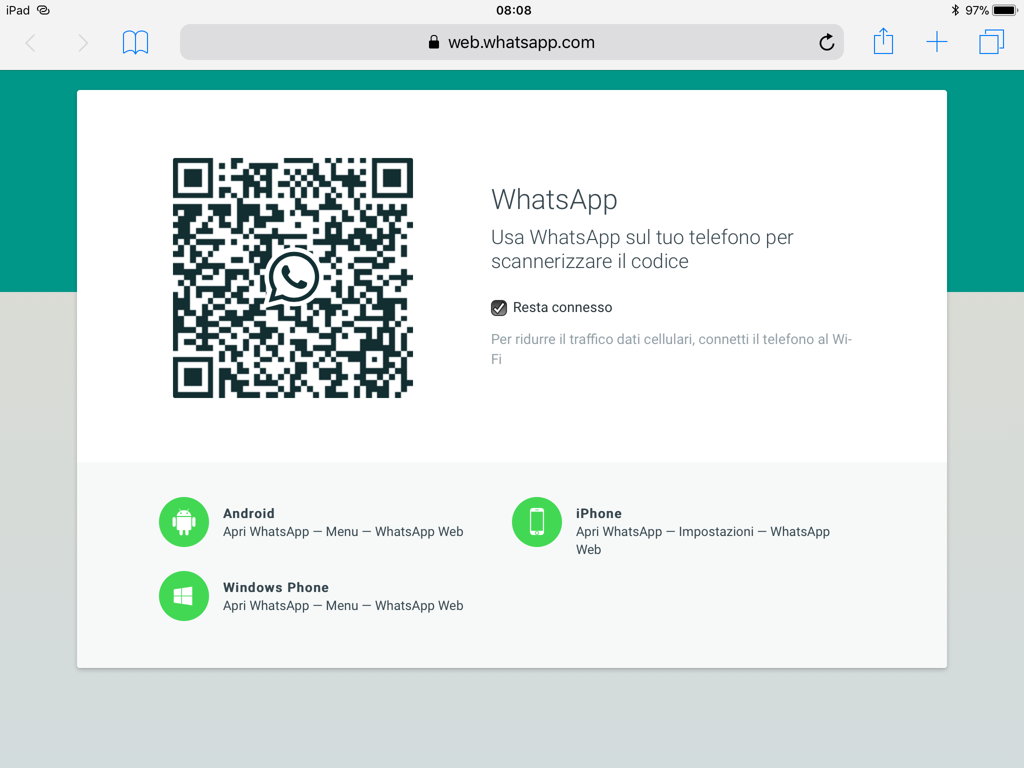 Qr di  web.whatsapp.com