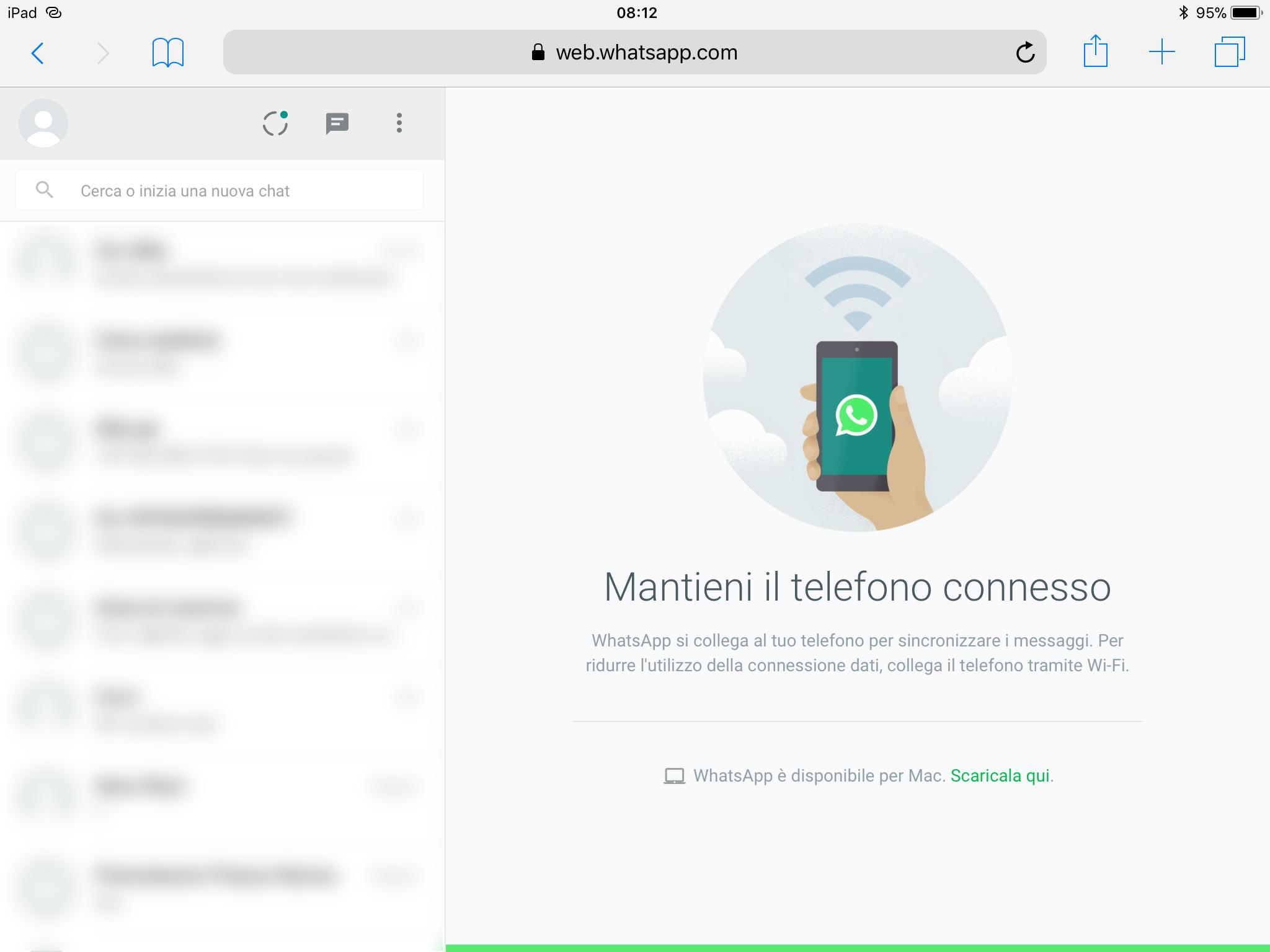 web.whatsapp.com dopo il login