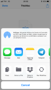 Condividi con qualunque app - mail