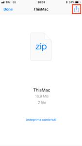 Condividi zip appena creato