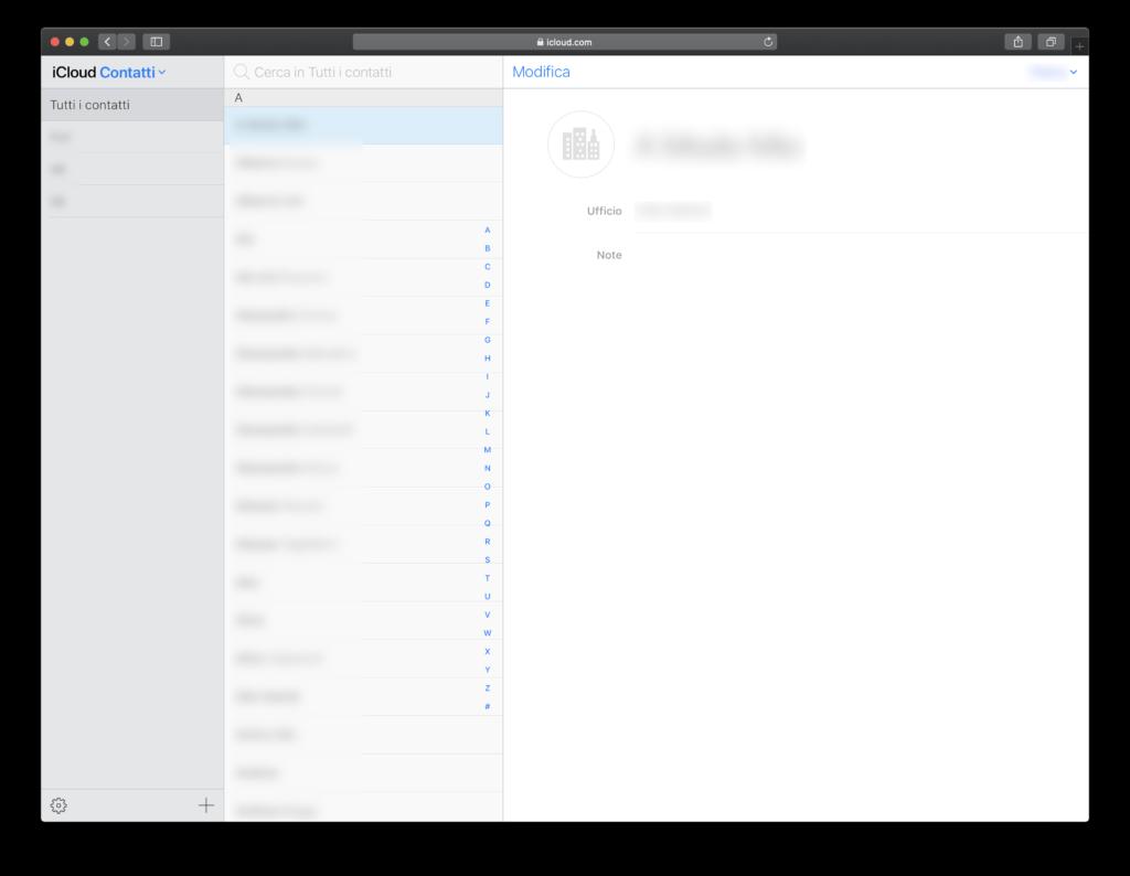 contatti iCloud
