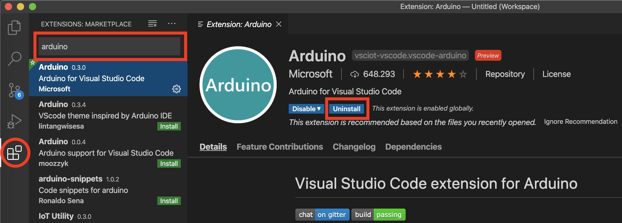 Visual Studio Code istallazione estensione Arduino