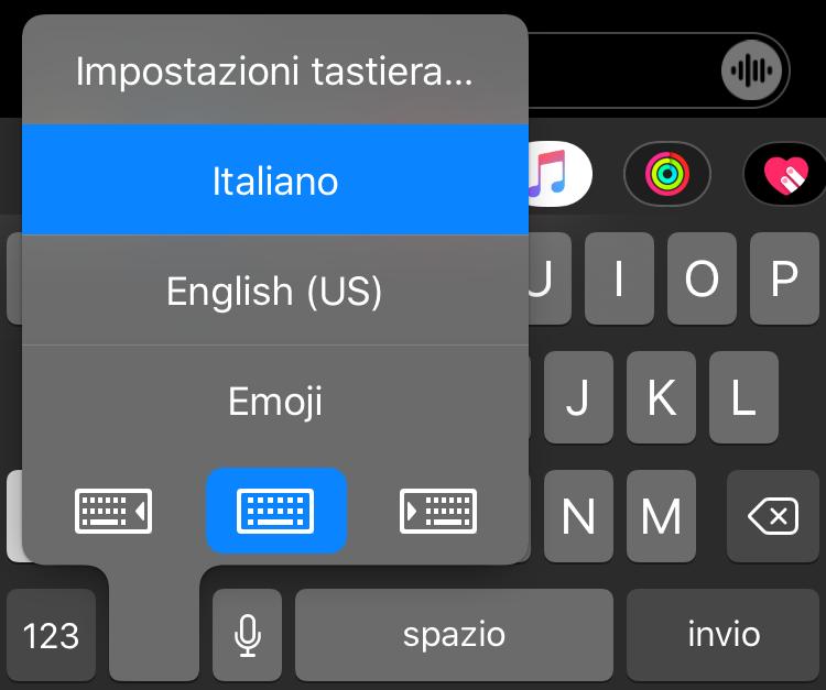 seleziona tastiera iOS