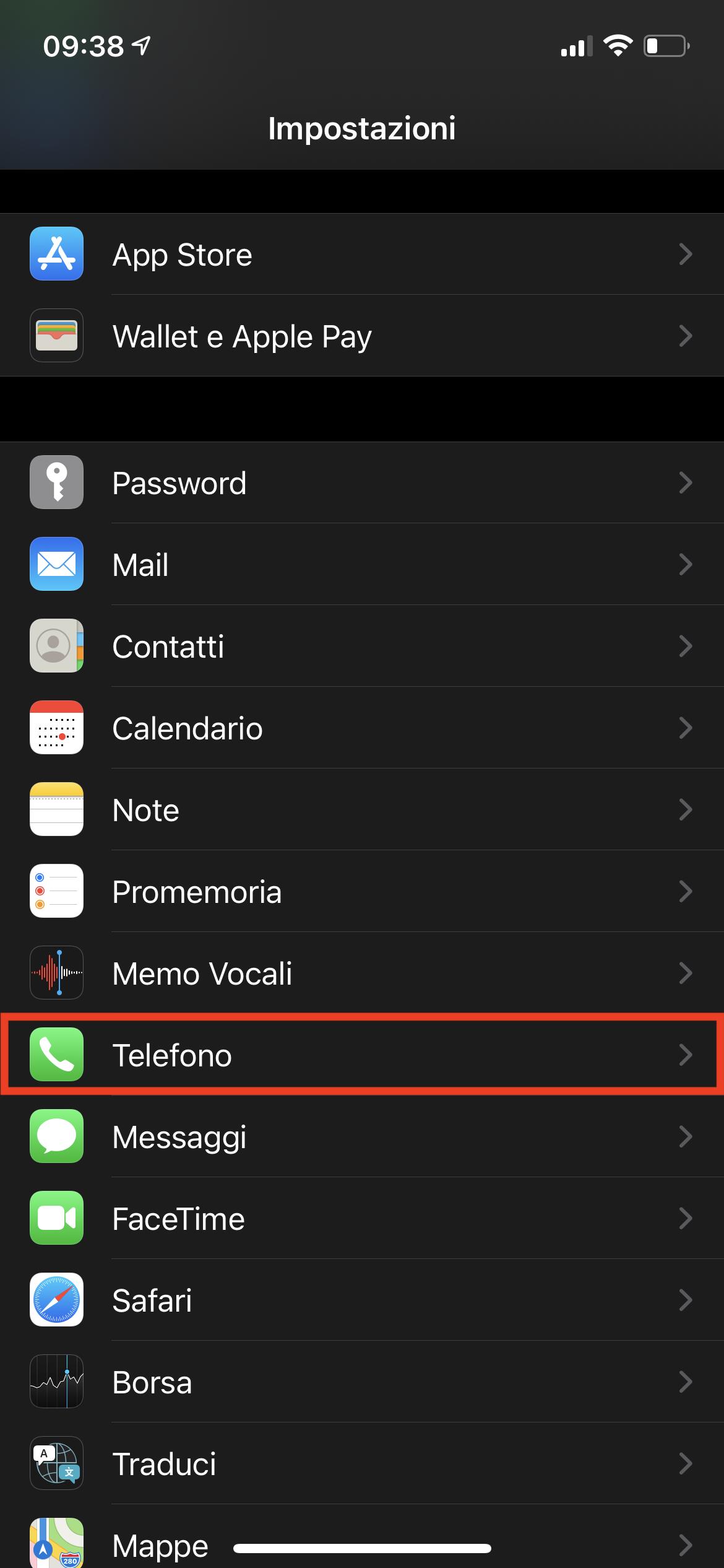 impostazioni telefono iPhone
