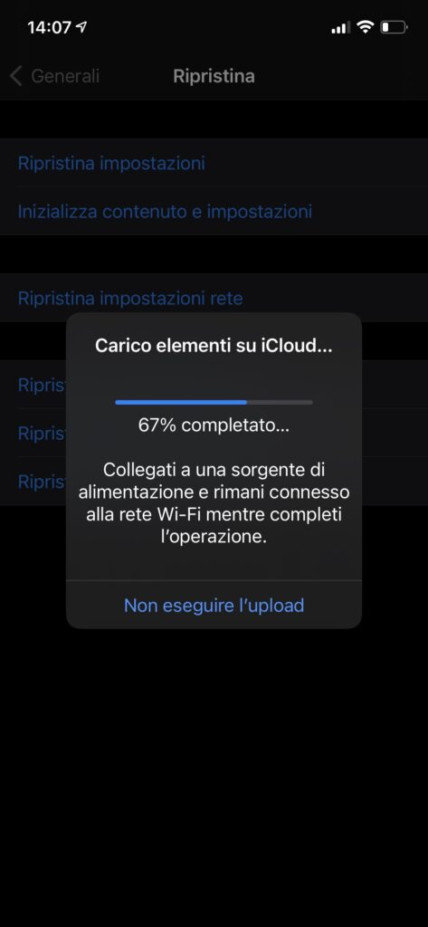 carico elementi su iCloud