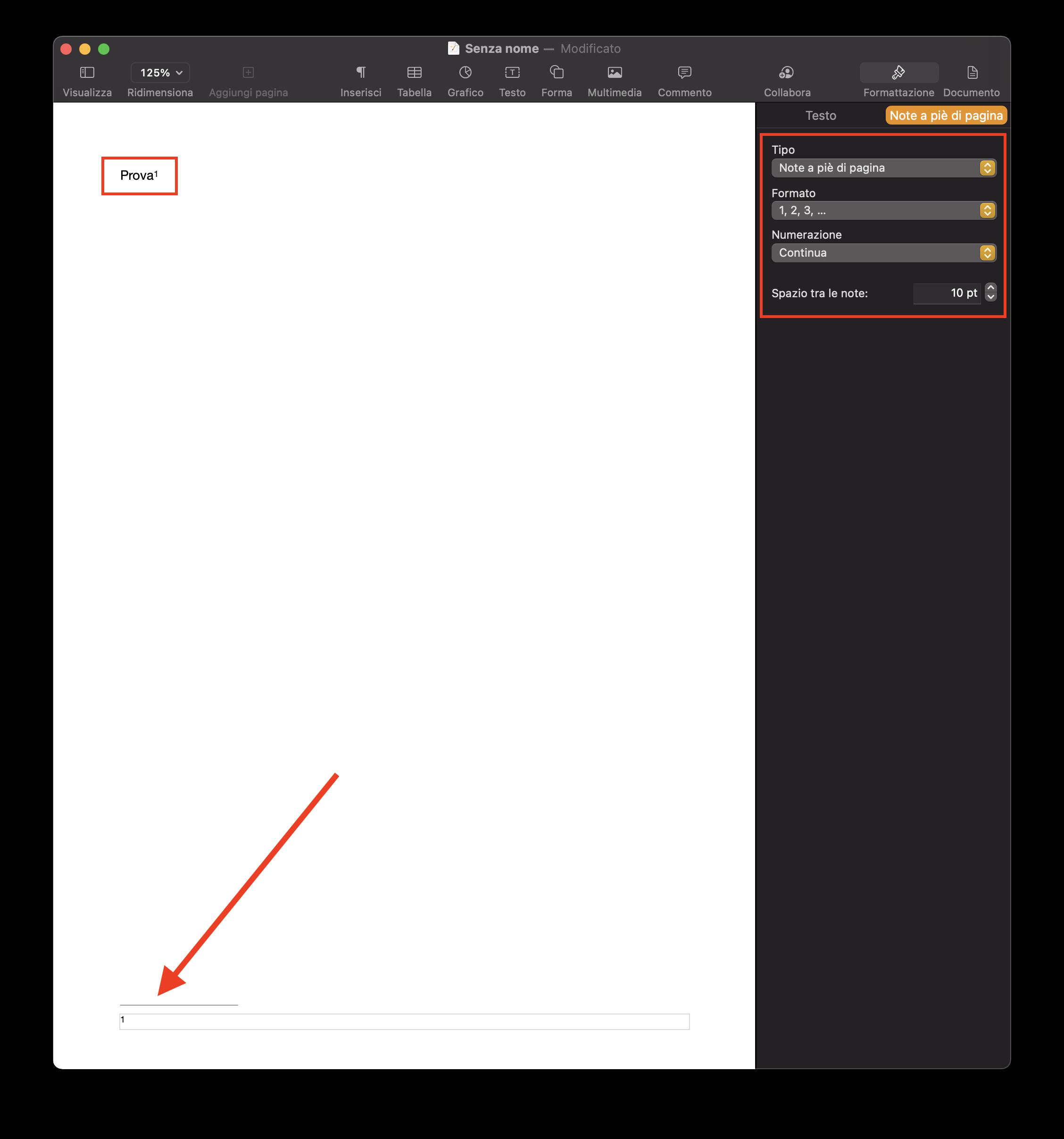Note a piè di pagina pages Mac